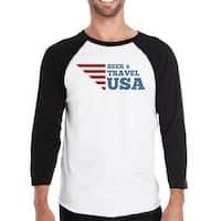 Seek & Travel USA Mens Black Baseball Tee 3/4 Sleeve Round Neck