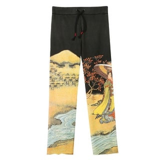 Women's Asian Print French Terry Sweatpants - Black with Tree