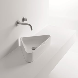 """WS Bath Collections Normal 04S  22-1/16"""" Ceramic Vessel Bathroom Sink with Overflow from the Normal Collection - White"""