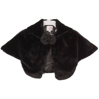 Beautiful Poncho Cape Winter Fur Coat Jacket Black CC3012