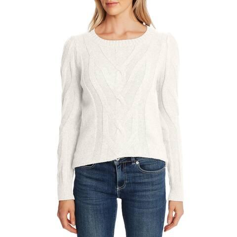 CECE Womens Beige Textured Long Sleeve Jewel Neck Sweater Size M