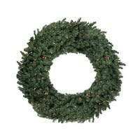 """60"""" Pre-Lit Commercial Canadian Pine Artificial Christmas Wreath - Multi Lights - green"""