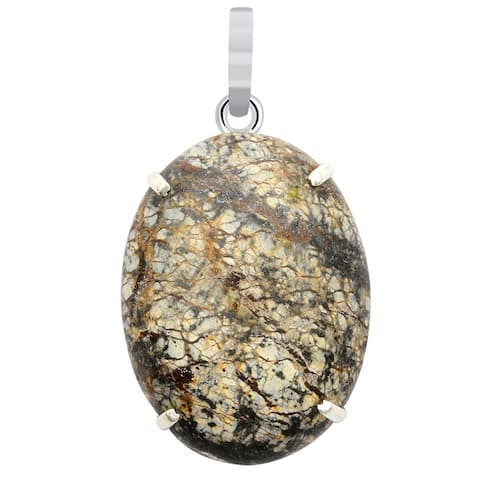 Picture Jasper Sterling Silver Oval Solitaire Pendant by Orchid Jewelry