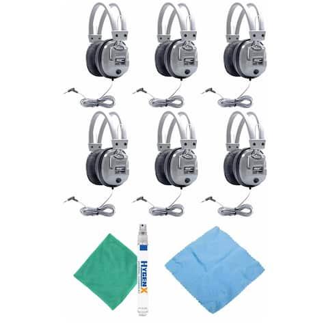 Hamilton Buhl SC-7V Schoolmate Headphones (6-Pack) w/ Accessory Bundle