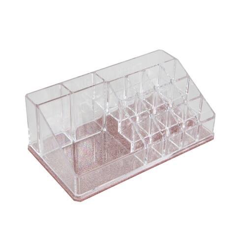 Simplify 16 Compartment Glitter Cosmetic Organizer in Blush