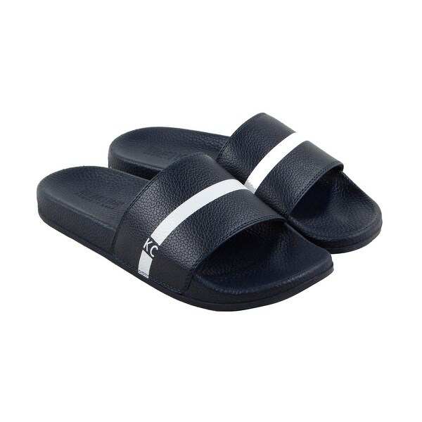 Kenneth Cole Reaction Big Screen Mens Blue Leather Flip Flops Sandals Shoes