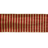 """Pack of 6 Red and Glittered Gold Colored Dupioni Silk Ribbons 360"""""""