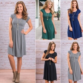 Fashion Women's Solid Round Neck Short Sleeve Dress