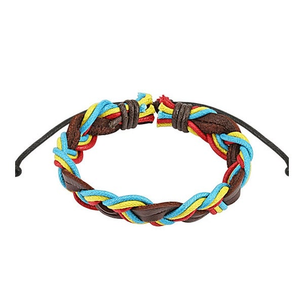 Brown Triple Colored Rasta Braided Leather Bracelet with Drawstrings (10 mm) - 7.5 in