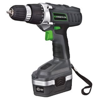Genesis GCD18BK Cordless Drill/Driver Kit, 18 Volts|https://ak1.ostkcdn.com/images/products/is/images/direct/8f632027a3e88b254b93aea2a13c0ba08e62822d/Genesis-GCD18BK-Cordless-Drill-Driver-Kit%2C-18-Volts.jpg?impolicy=medium