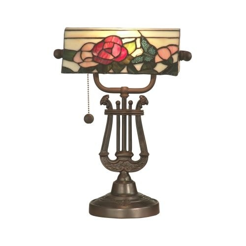 Dale Tiffany TT90186 Victorian 1 Light Broadview Bankers Desk Lamp with Art Glass Shade - n/a