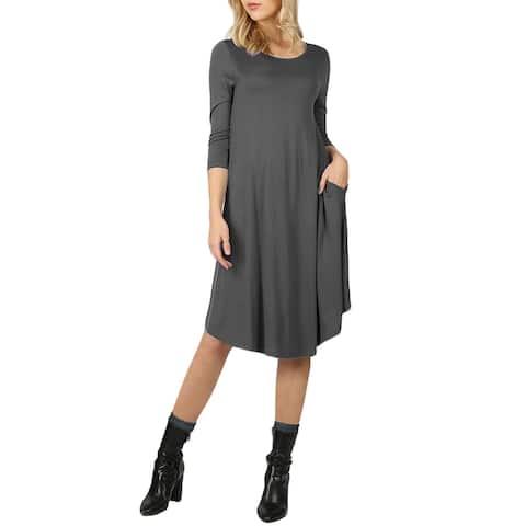NE PEOPLE Womens Comfy Stretch 3/4 Sleeve Knee Length Flare Midi Dress