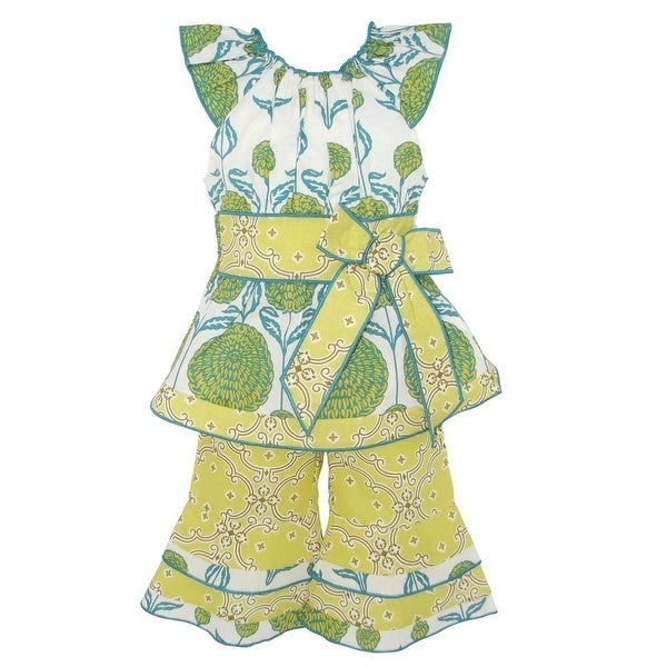 AnnLoren Baby Girls Yellow Floral Damask Print Flared Pant Outfit