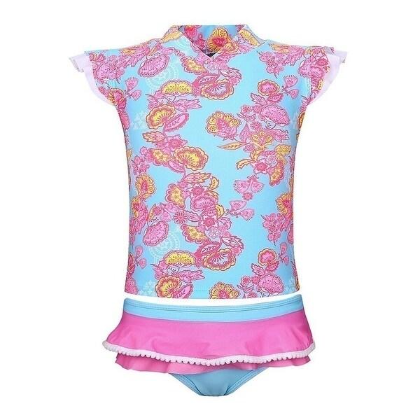 Sun Emporium Baby Girls Pink Blue Blossom Sun Shirt Nappy Cover Set