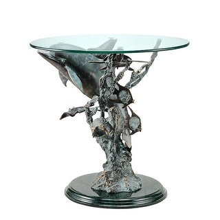Metal and Glass Dolphin Seaworld End Table - Multicolored