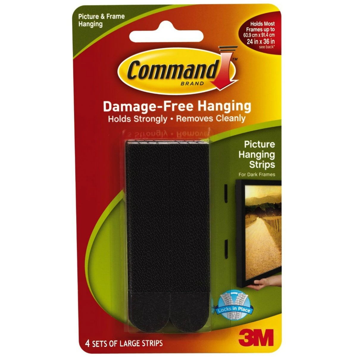 Command 17206BLK Damage-Free Picture Hanging Strips, Large, Black, 4-Set