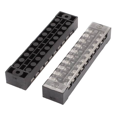 2 Pcs 600V 15A 10P Screw Electric Barrier Terminal Block Cable Connector Bar