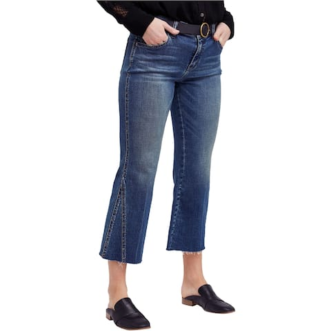 Free People Womens Studded Crop Flared Jeans