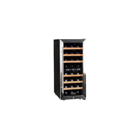 "Koldfront TWR247E 14"" Wide 24 Bottle Wine Cooler with Dual Cooling Zones - Stainless Steel"