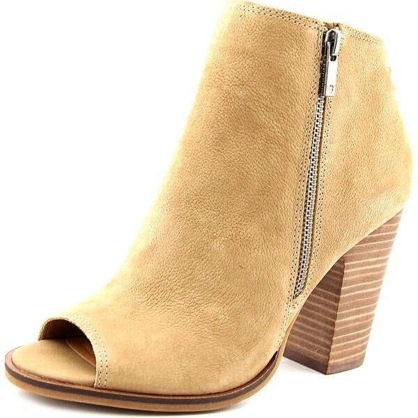 Lucky Brand Lamija Women Peep-Toe Leather Tan Ankle Boot