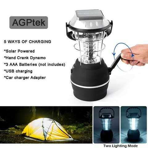 36LED Solar Lantern Camping Tent Light Outdoor Hand Crank Dynamo Lamp Rechargeab - S