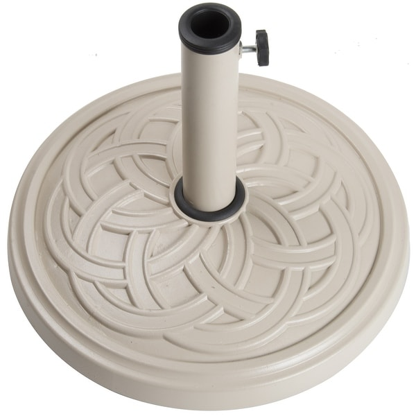"Living Accents 60477A Envirostone Round Umbrella Base, 18"" Dia, Sand"
