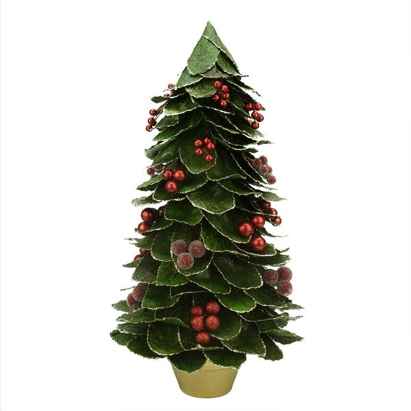 "18"" Green Holly Berry Glittered Leaf Potted Christmas Tree Table Top Decoration"
