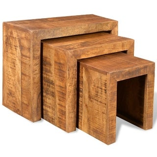 vidaXL Nesting Table Set 3 Pieces Solid Mango Wood