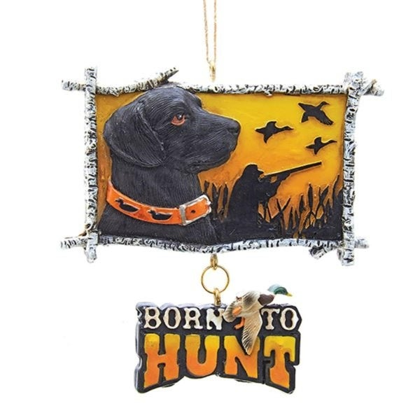 Pack Of 6 Black Lab Born To Hunt Hanging Sign Christmas Ornament