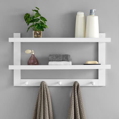 Two-Tier Ledge Shelf Wall Organizer with Five Hanging Hooks - White