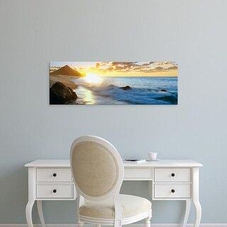 Easy Art Prints Panoramic Image 'Fisherman on beach at sunrise, Land's End, Baja California Sur, Mexico' Canvas Art