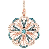 Prism Jewel 1.32Ct Blue Color Diamond & Diamond Unique Pendant - White G-H