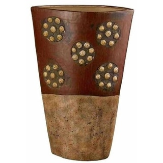 Cal Lighting TA-777XM Roseville Tribal Ceramic Vase With Spiral Shell Accents Extra Medium