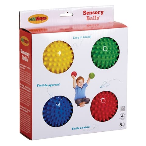 Edushape Textured Sensory Ball Set, 4 Inches, Assorted Colors, Set of 4