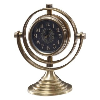 "8"" Romero Elegant Brass and Black Table Desk Clock with Layered Step Swivel Base"