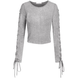 NE PEOPLE Womens Lace Up Ribbed Long Sleeve Hollow Out Top [NEWT346]