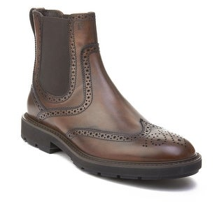 Tod's Men's Leather Brogue Chelsea Boots Brown