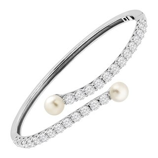 Honora 6-7 mm Freshwater Pearl Bypass Bangle Bracelet with Swarovski elements Zirconia in Sterling Silver
