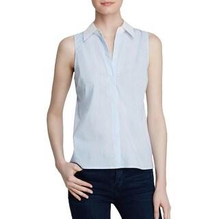 Aqua Womens Button-Down Top Sleeveless Collar