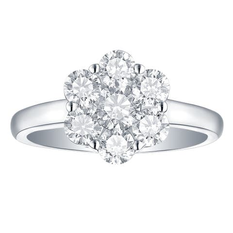 Lab Grown Diamond Cluster Engagement Ring, 1 1/2 Ctw 14K Solid Gold by Smiling Rocks