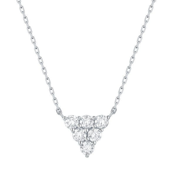 Smiling Rocks 0.34Ct G-H/VS1 Lab Grown Diamond Triangle Cluster Necklace