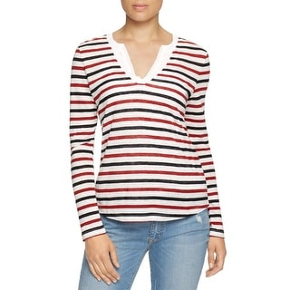 Sanctuary Womens Casual Top Linen Striped