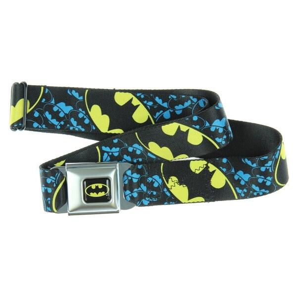 Batman Bat Signal 2 Black/Yellow Seatbelt Belt-Holds Pants Up