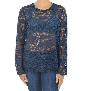 Fifteen Twenty Blue Womens Size Small S Floral Lace Knit Top