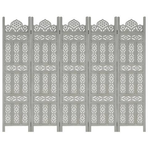 "vidaXL Hand carved 5-Panel Room Divider Gray 78.7""x65"" Solid Mango Wood"
