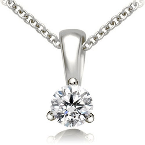 0.50 cttw. 14K White Gold Round Cut Diamond 3-Prong Basket Solitaire Pendant - White H-I