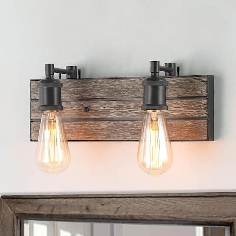"Carbon Loft Rustic 2-lights Wall Sconces Adjustable Wood Bathroom Vanity Light - W14.2""* H 5.8""* E 5.1"""
