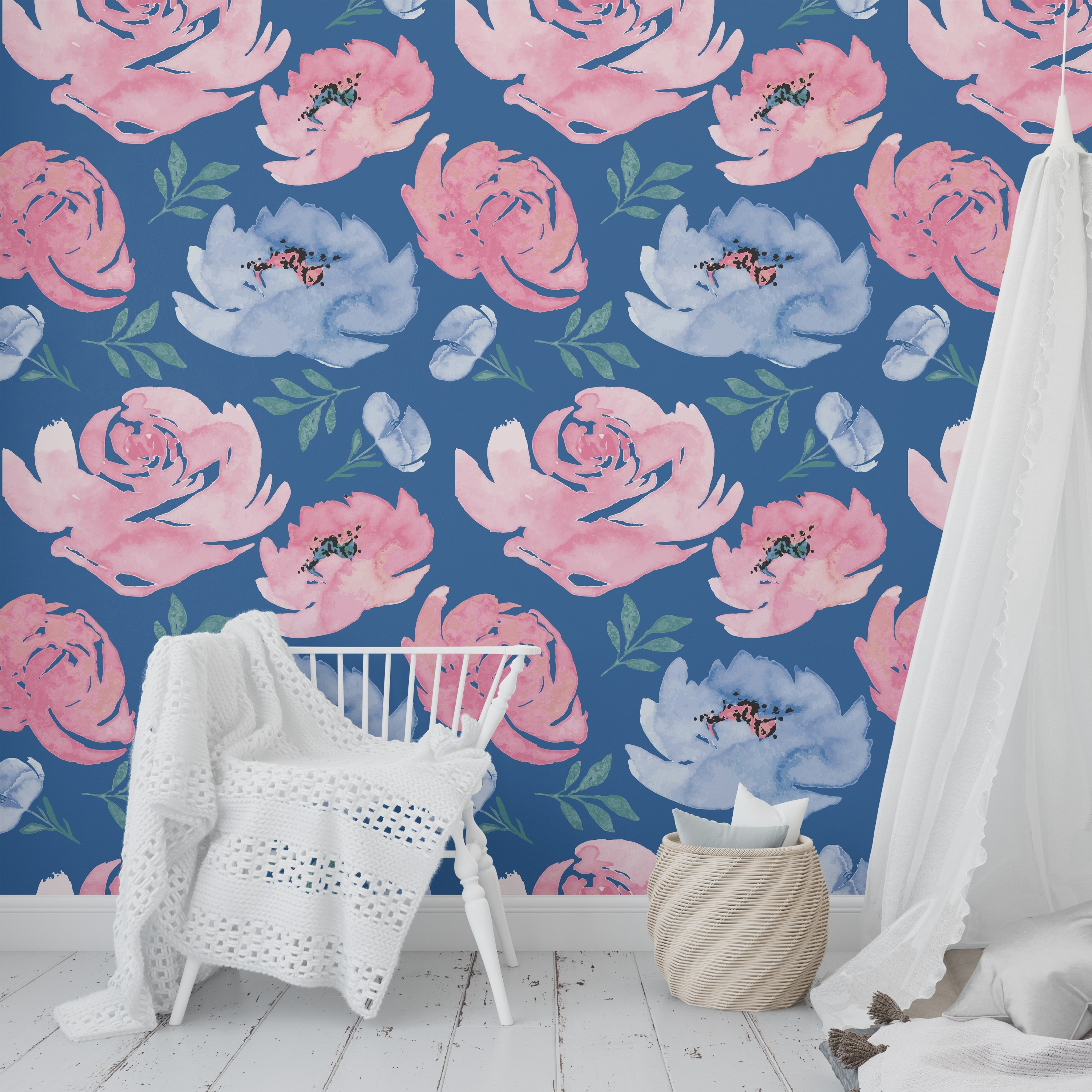 Shop Boho Floral Dance Dark Blue Peel And Stick Wallpaper By Kavka Designs 2 X 16 On Sale Overstock 31638085