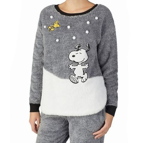 Peanuts Women Sweater Gray White XL Fleece Snoopy Embroidered Sleepshirt