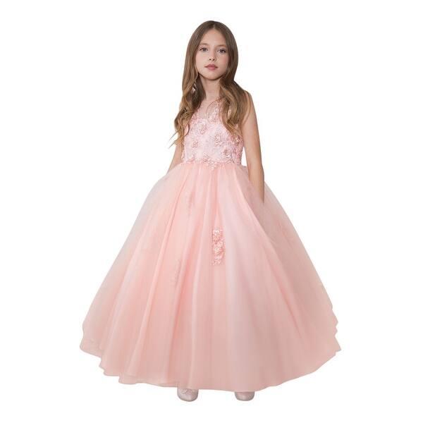 5199d0e42cd0d Shop Calla Collection Girls Blush Mesh Floral Applique Pageant Dress ...